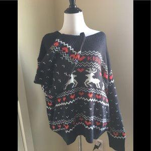 Christmas Sweater Kissmas L Navy deer red